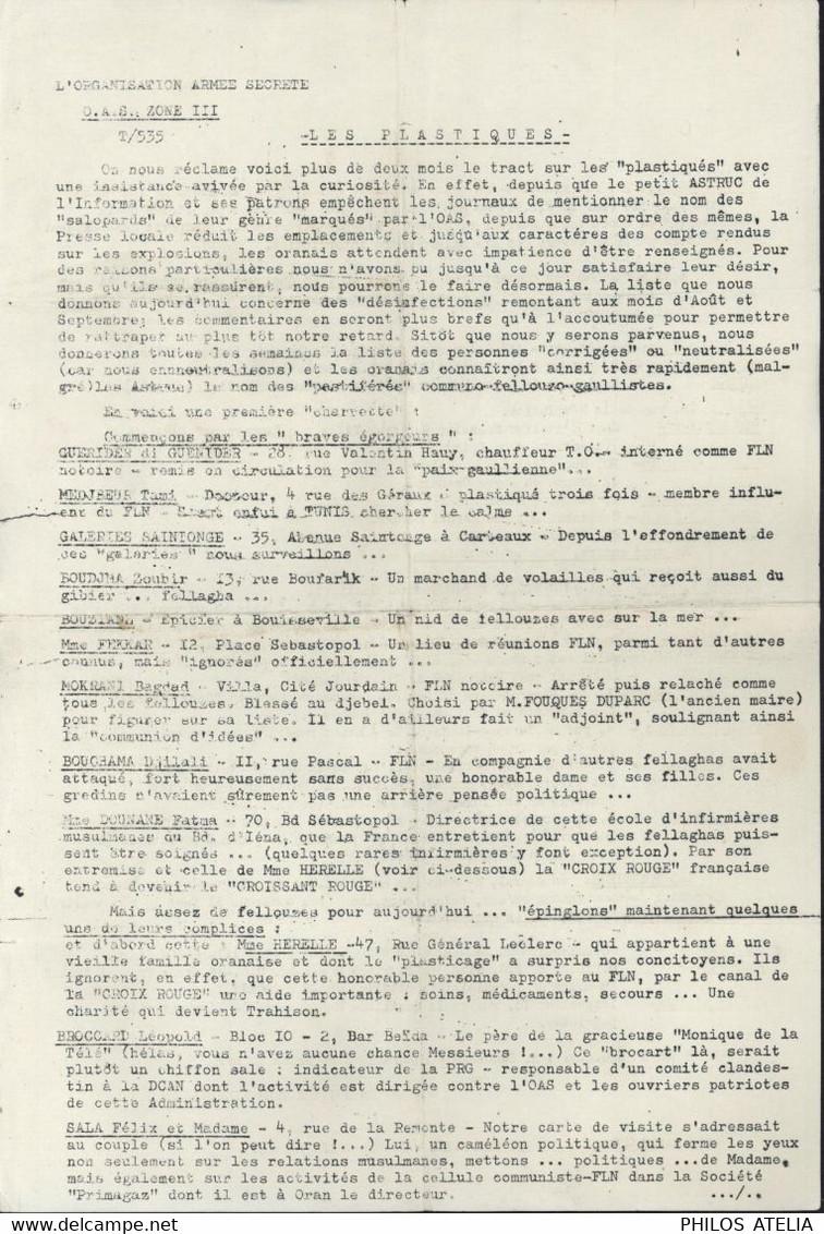Tract OAS Organisation Armée Secrète Guerre D'Algérie Liste Personnalités Plastiqués Par O.A.S. Pro FNL F.N.L. - Historical Documents