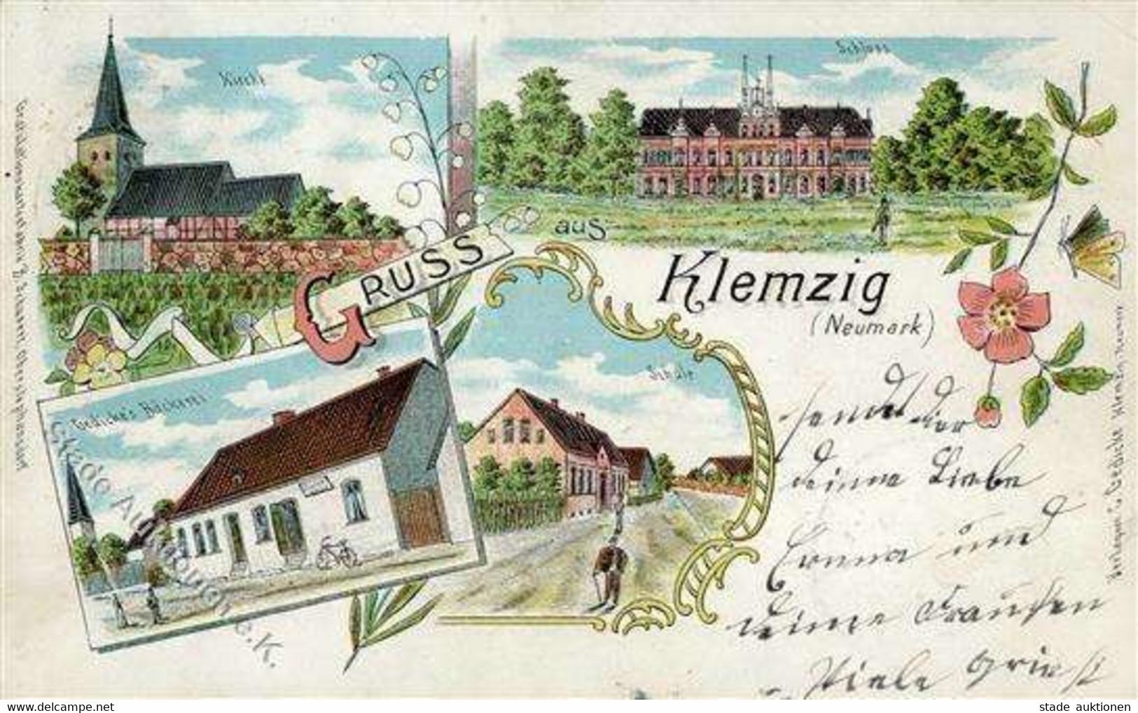 Klemzig Bäckerei Gedicke Lithographie 1902 II (Stauchung) - Poland