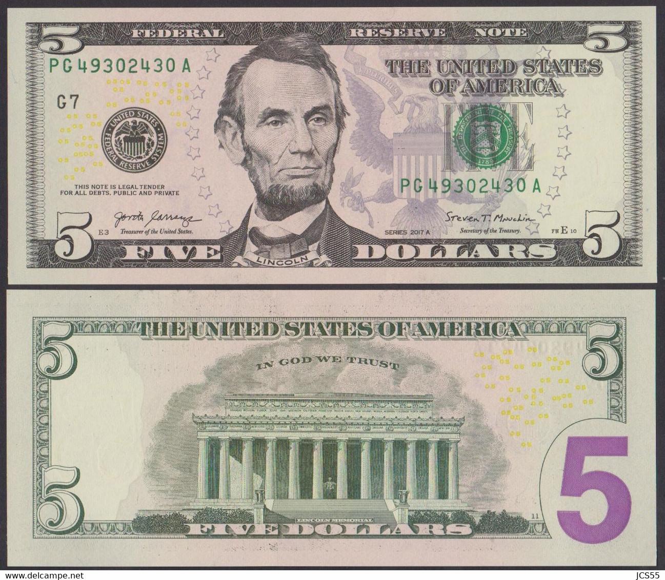 USA  -  5 Dollars New Issue 2017 (UNC) - Non Classificati