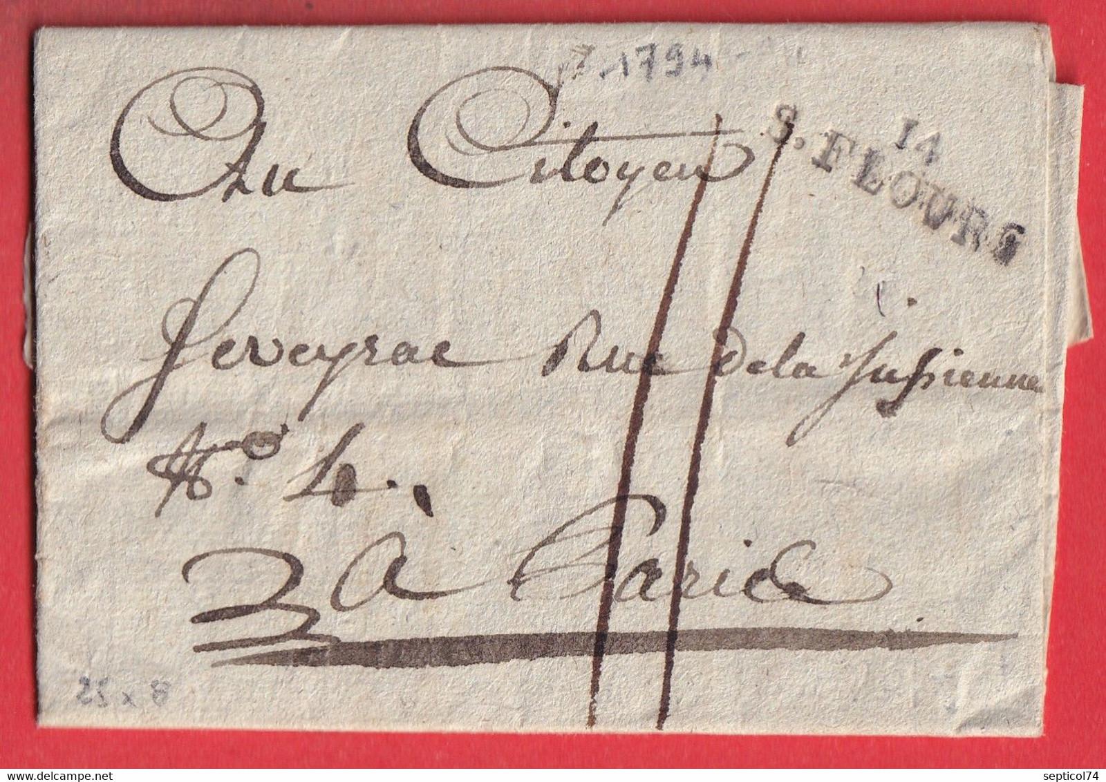 MARQUE 14 ST FLOUR CANTAL 1794 POUR PARIS 25X8 INDICE 9 - 1801-1848: Voorlopers XIX