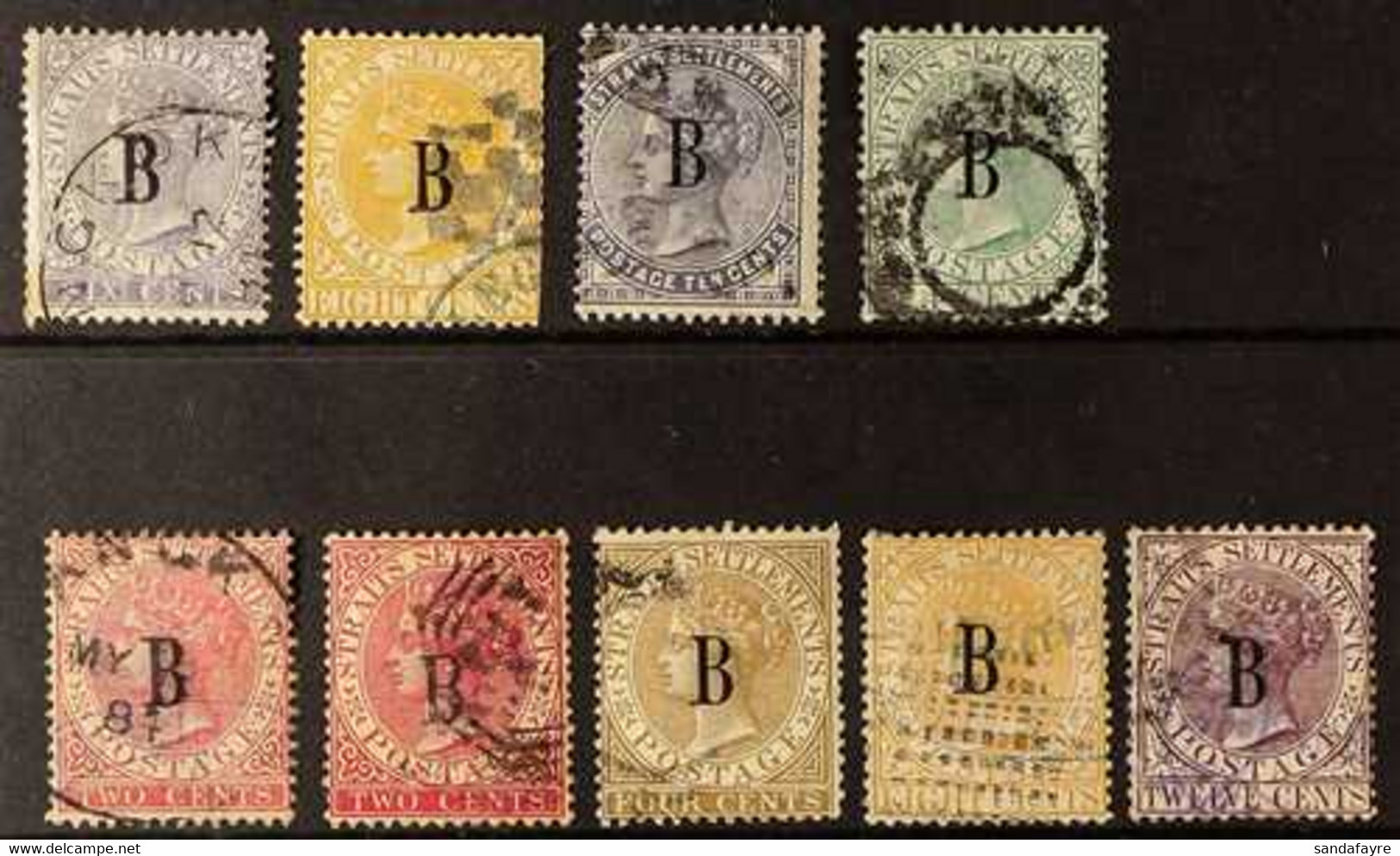 """1882-85 A Used Range With """"CC"""" 8c With Bangkok Cds (few Rusted Perfs), 8c With Part Legation Cachet (few Trimmed Perfs A - Siam"""