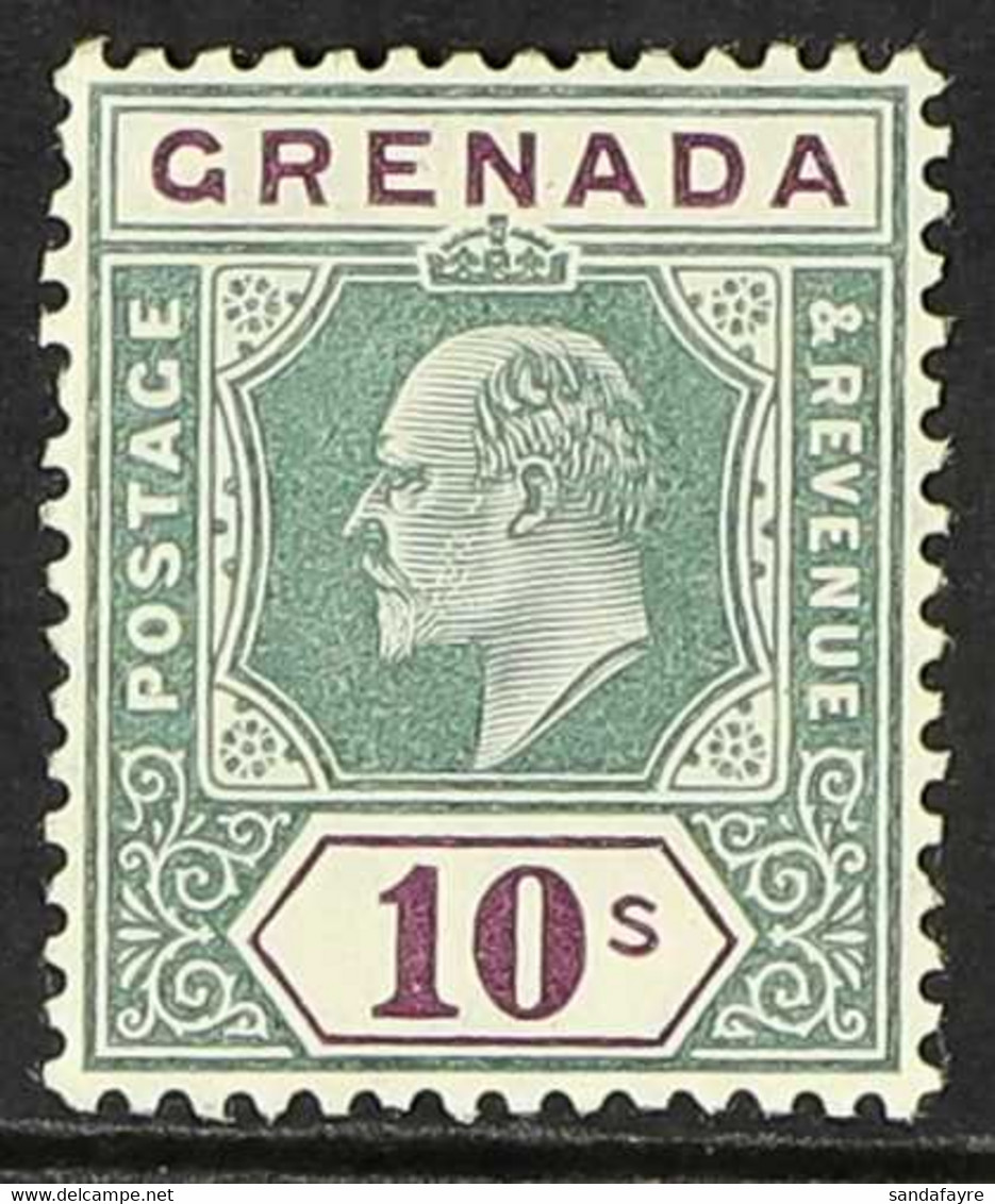 1904-06 10s Green And Purple, SG 76, Fine Mint. For More Images, Please Visit Http://www.sandafayre.com/itemdetails.aspx - Grenada (...-1974)