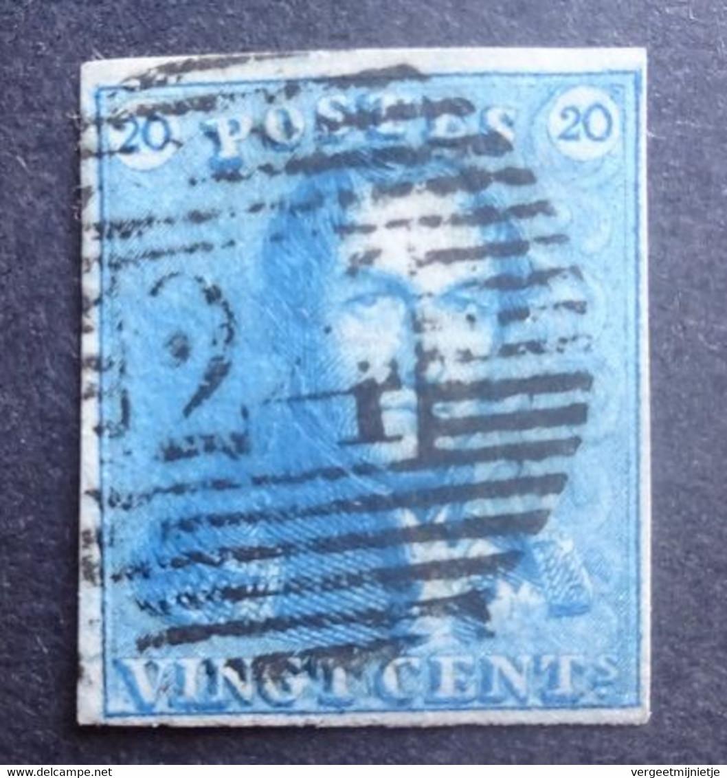 BELGIE  1849   Nr. 2 C     P 24    Gerand   Gestempeld    CW 175,00 - 1849 Hombreras