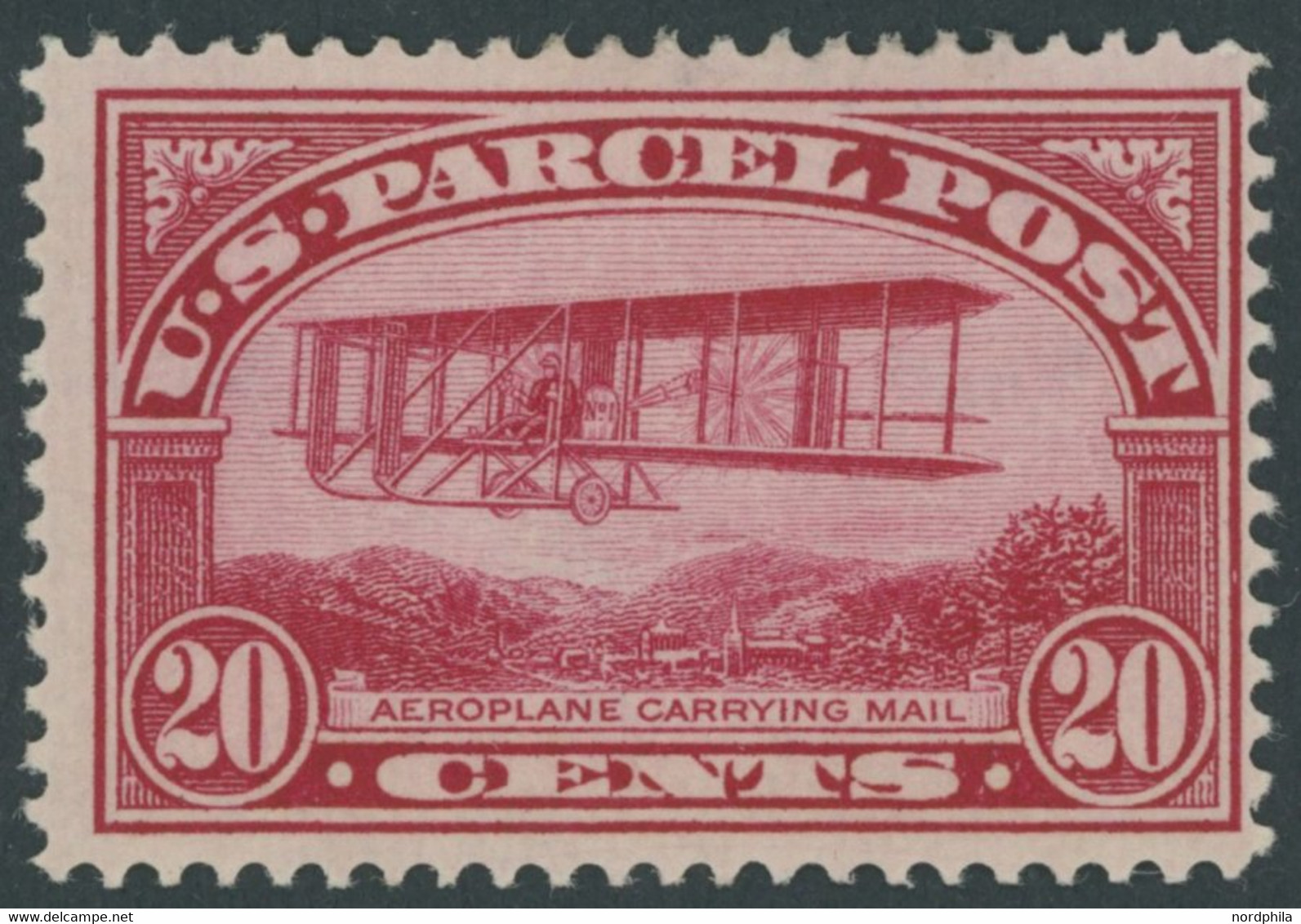 USA Pa 8 *, Scott Q 8, 1912, 20 C. Doppeldecker Wright, Mehrere Falzreste, Pracht, $ 120 - Unused Stamps
