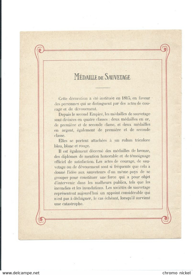 Medaille De Sauvetage Décorations Françaises Protège-cahier Couverture 220 X 175 Bien 3 Scans - Copertine Di Libri