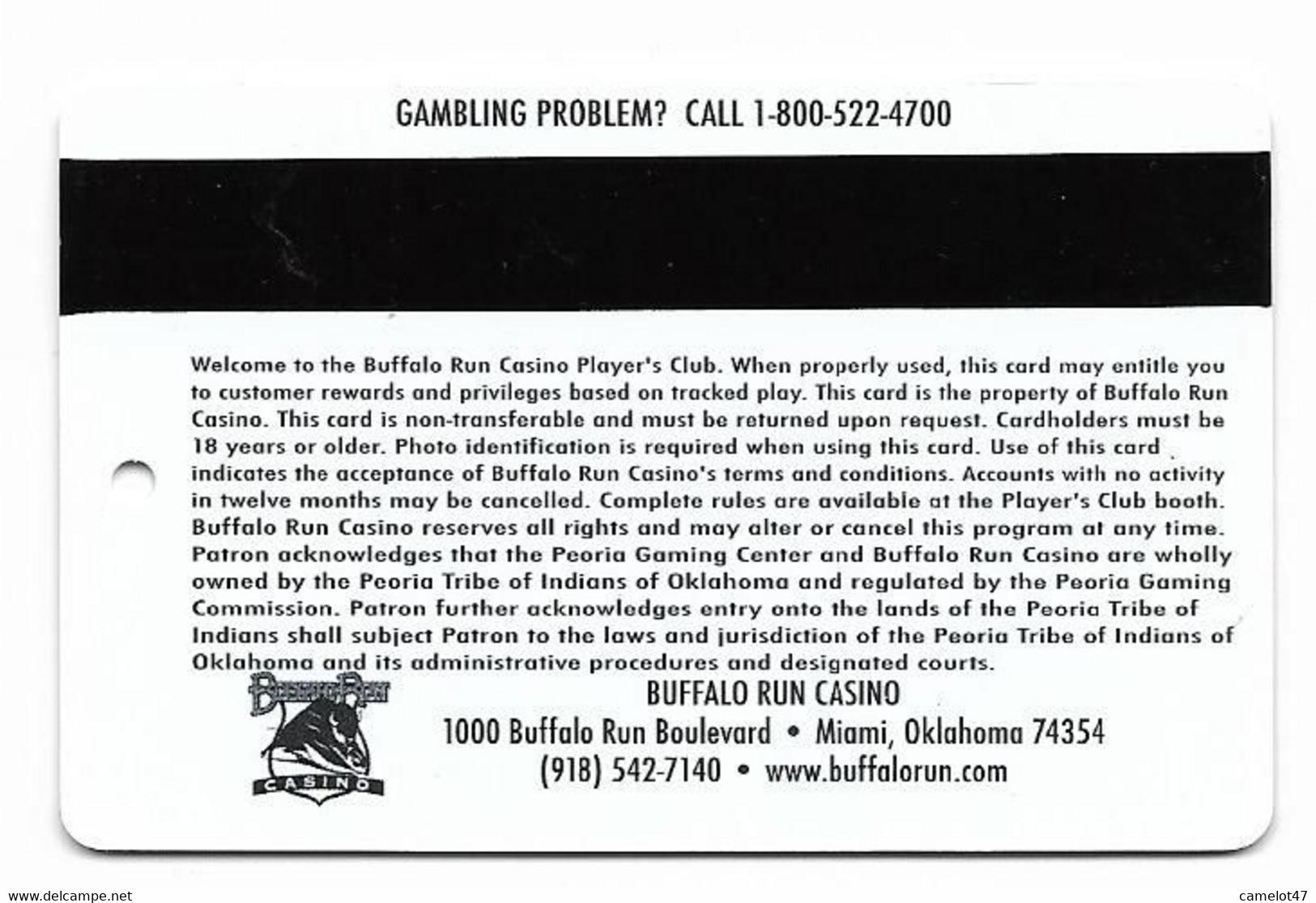 Buffalo Run Casino, Miami, OK, U.S.A., Older Used Slot Or Player's Card, # Buffalorun-2 - Casino Cards
