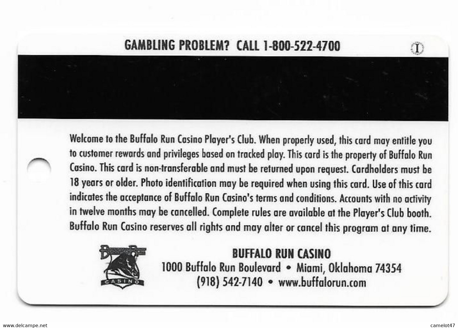 Buffalo Run Casino, Miami, OK, U.S.A., Older Used  Slot Or Player's Card, # Buffalorun-3 - Casino Cards