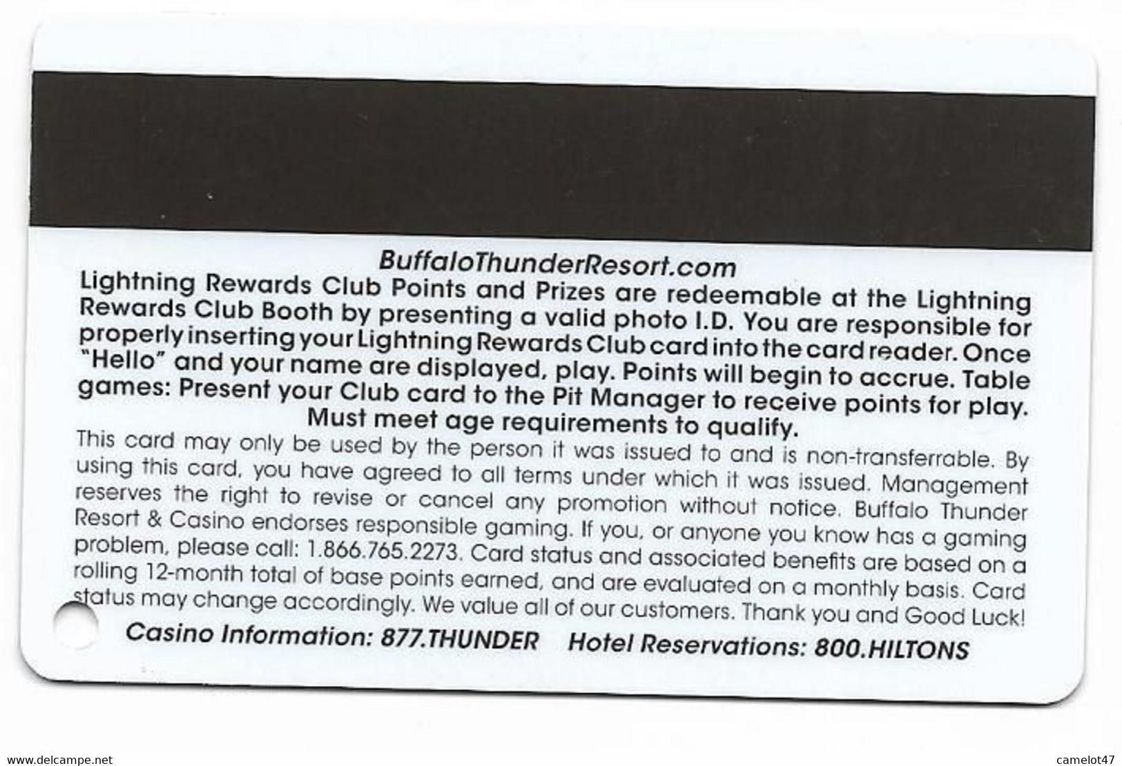 Buffalo Thunder Resort & Casino, Santa Fe, NM,  U.S.A., Older Used Slot Or Player's Card, # Buffalothunder-1 - Casino Cards