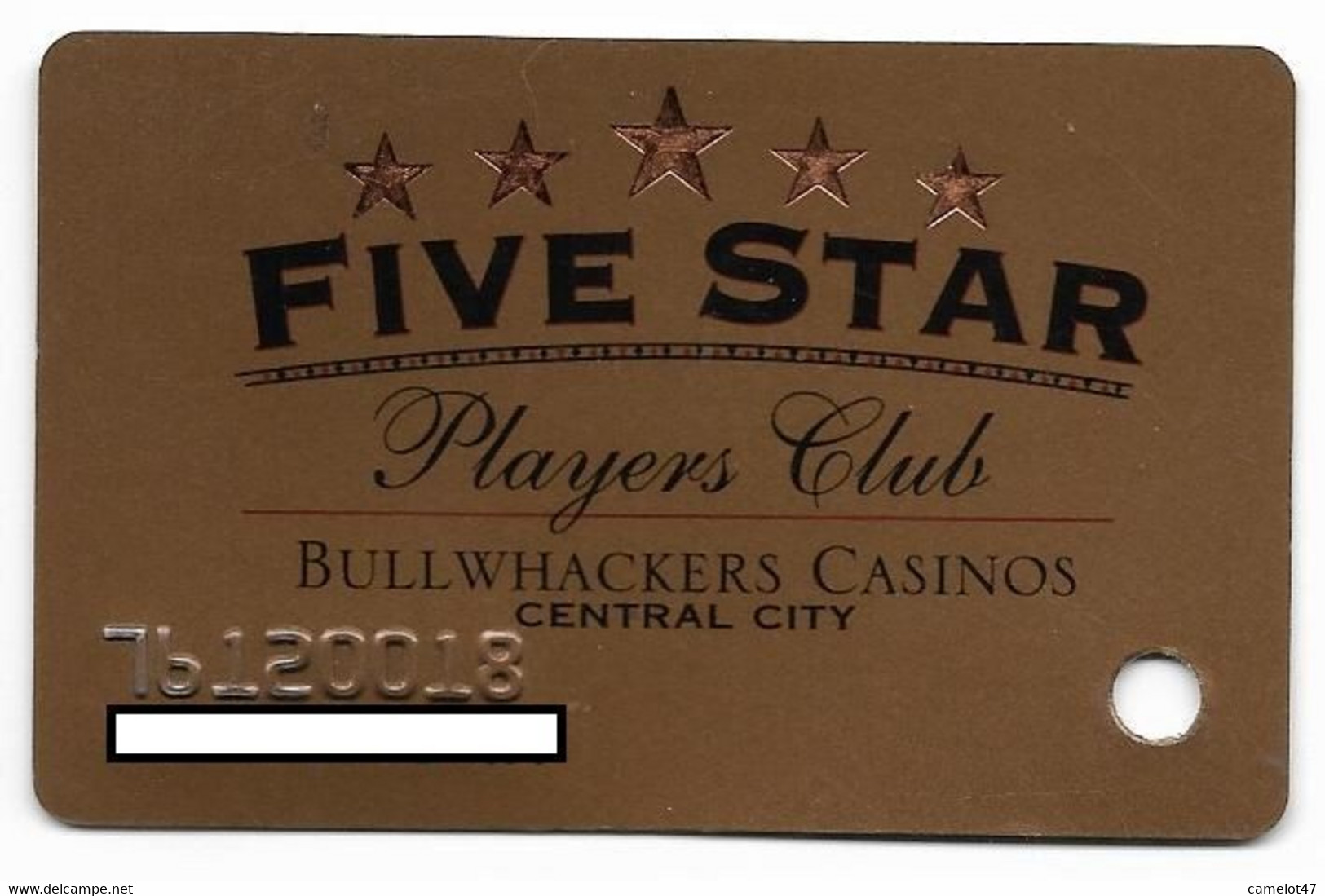 Bullwhackers Casinos, Black Hawk, CO, U.S.A. Used, Older Slot Or Player's Card, # Bullwhackers-2 - Casino Cards