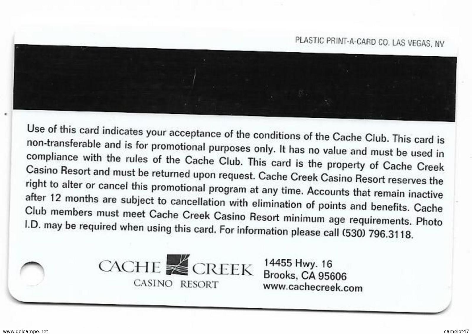 Cache Creek Casino, Brooks, CA, U.S.A., Older Used Slot Or Player's Card, # Cachecreek-3a - Casino Cards