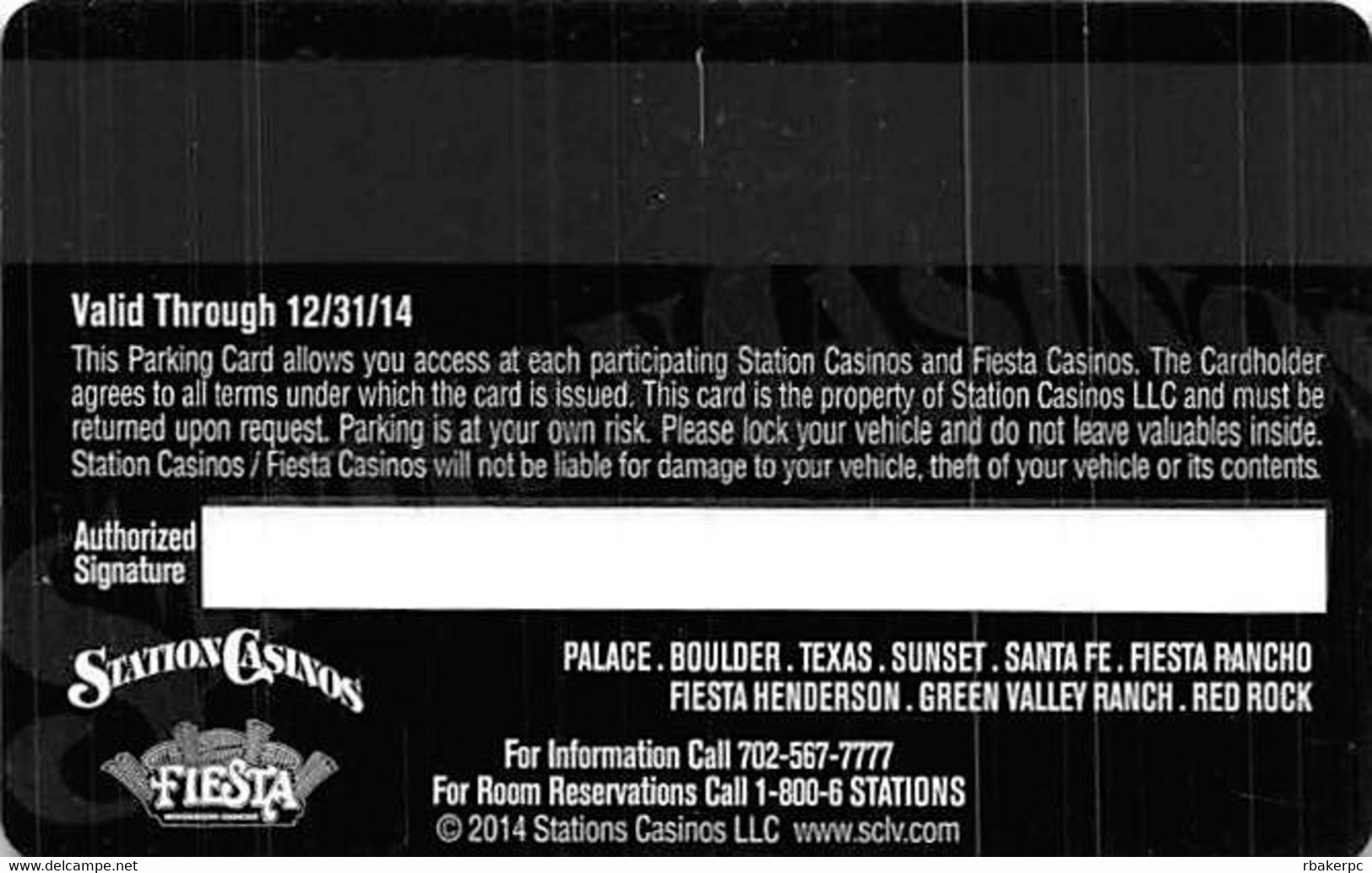 Station Casinos Las Vegas, NV - VIP Parking Card - Copyright 2014 - Exp 12/31/14 - Casino Cards