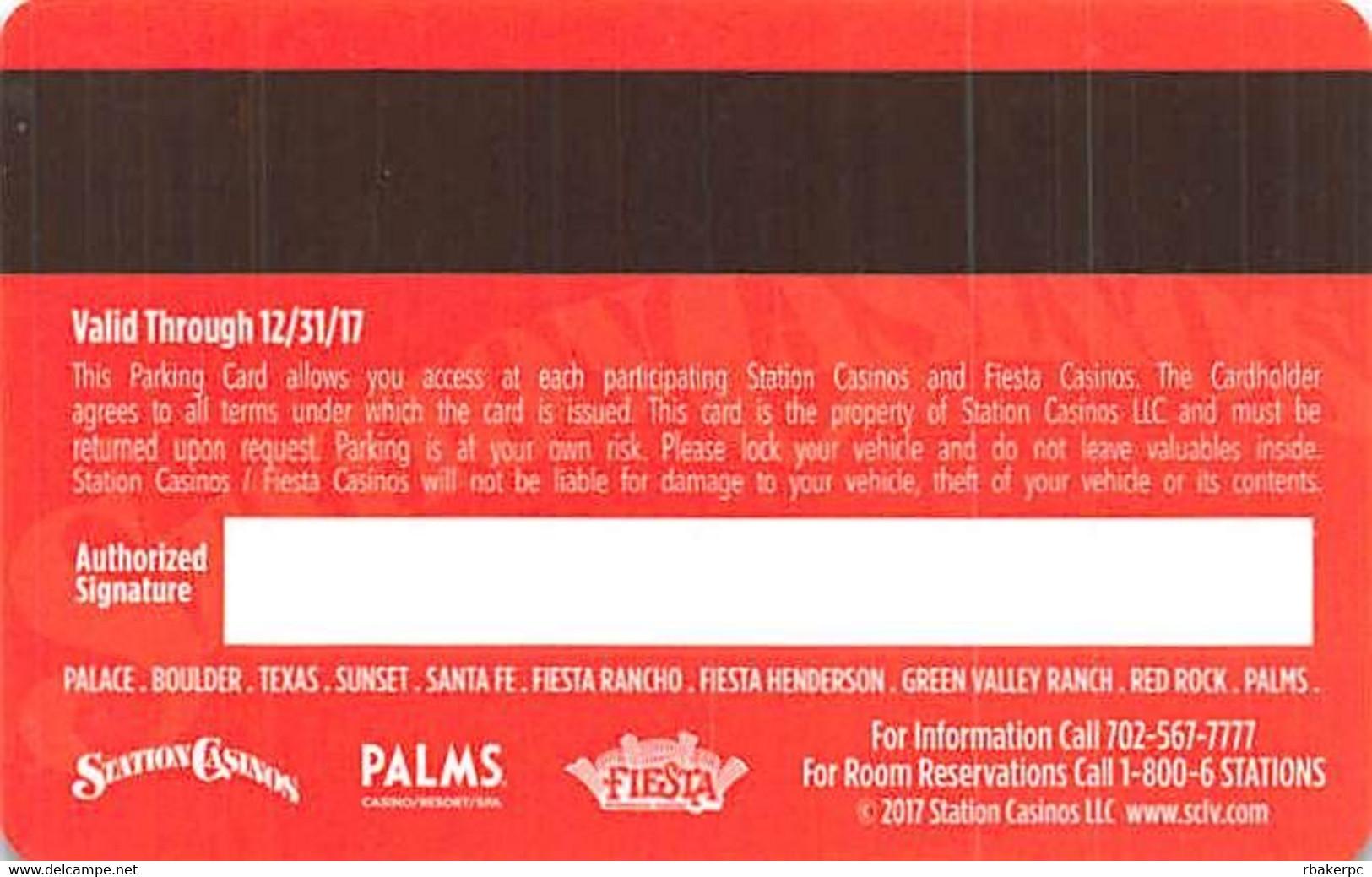 Station Casinos Las Vegas, NV - VIP Parking Card - Copyright 2017 - Exp  12/31/17 - Casino Cards