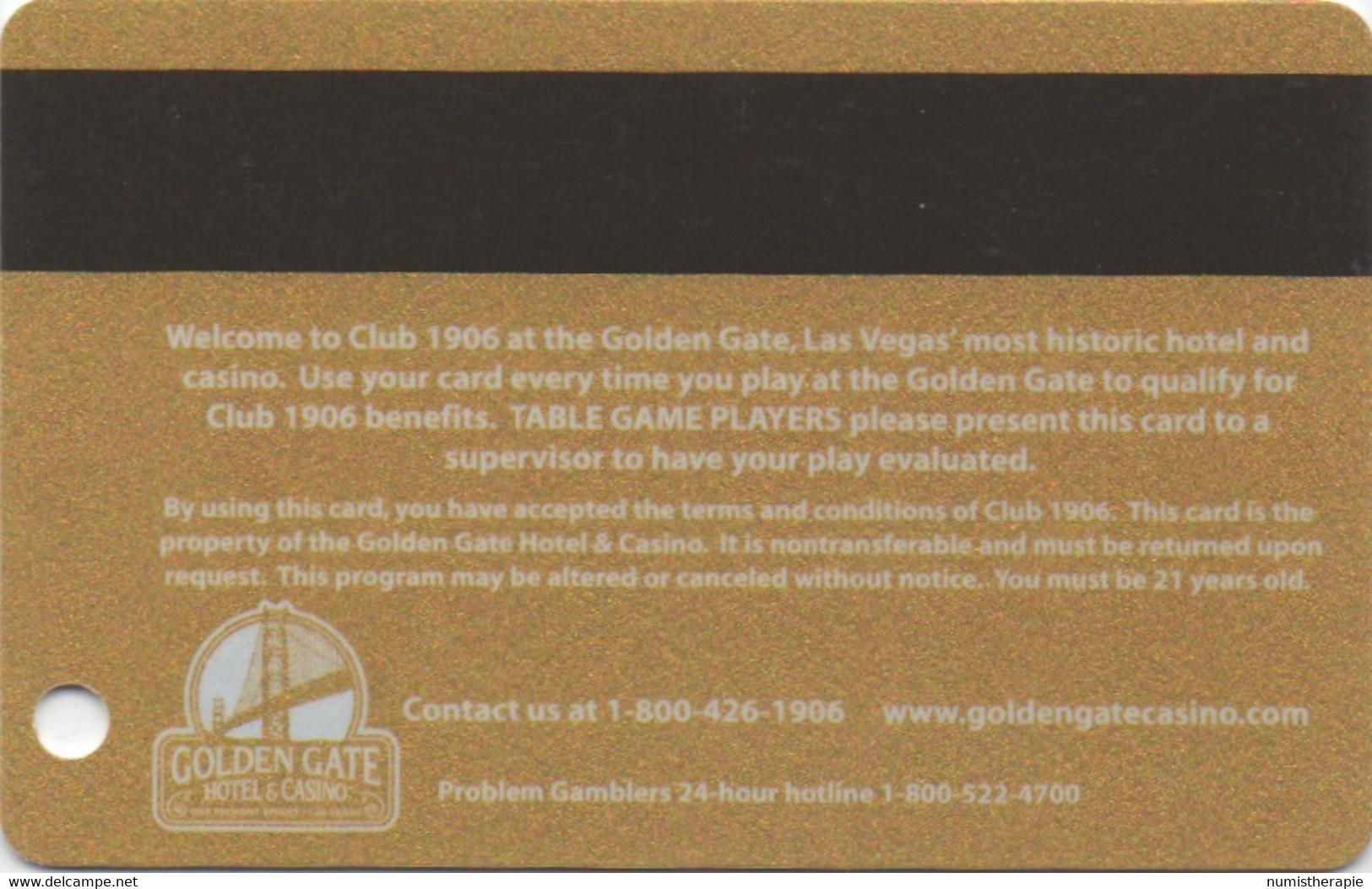 Golden Gate Hotel & Casino : LasVegas NV : Club 1906 Gold Member - Casino Cards