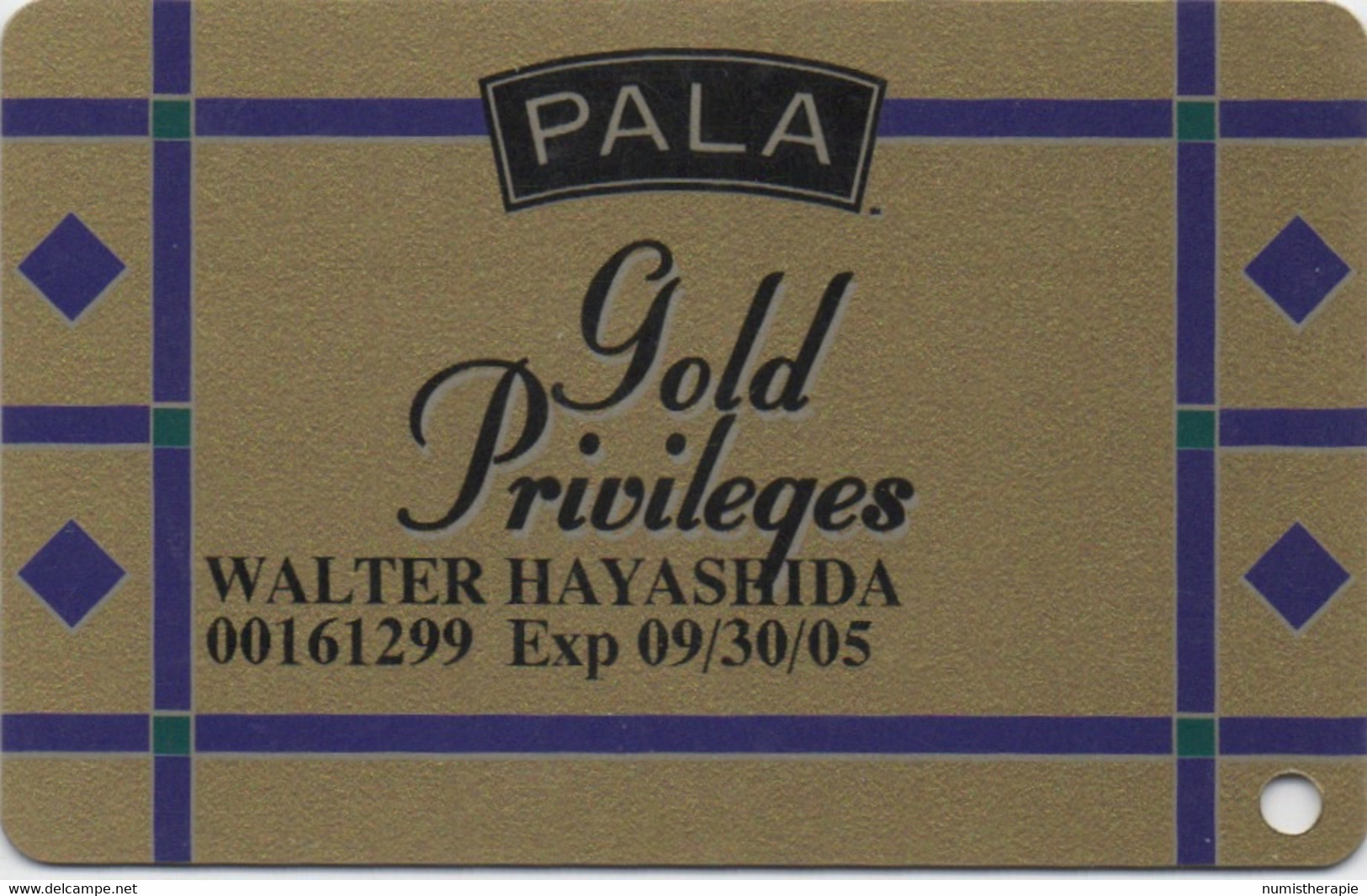 Pala Casino CA : Gold Privileges - Casino Cards
