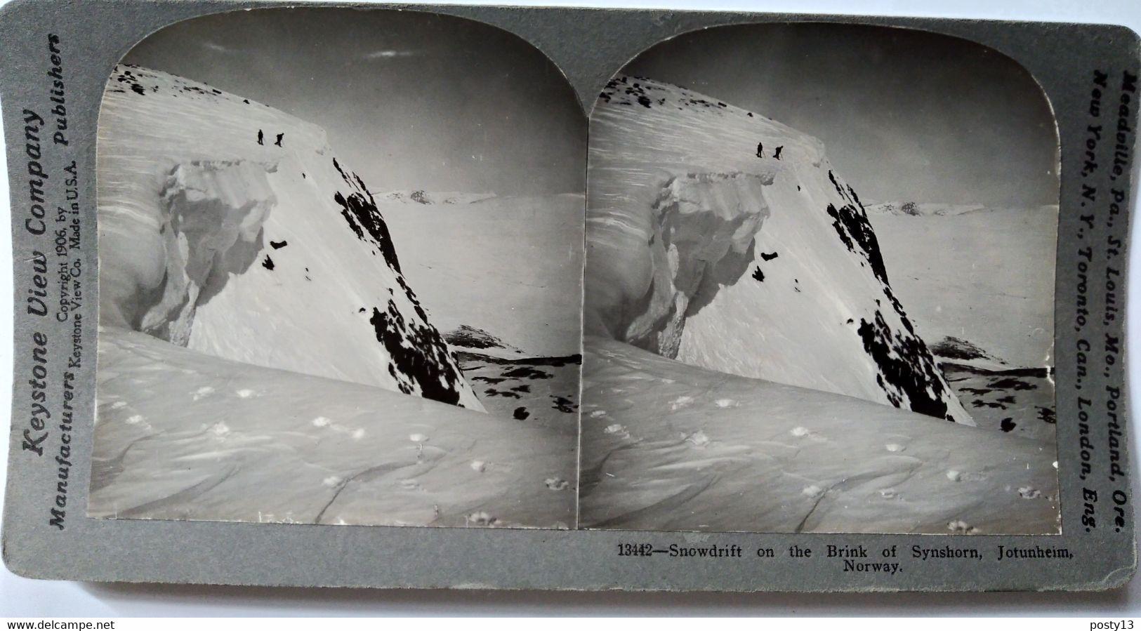 PHOTO STÉRÉO NORVÈGE - Superbe Stéréoscopique Neige Et Glace - Jotuheim - - 1906 - Ed. Keystone TBE - Stereoscopio