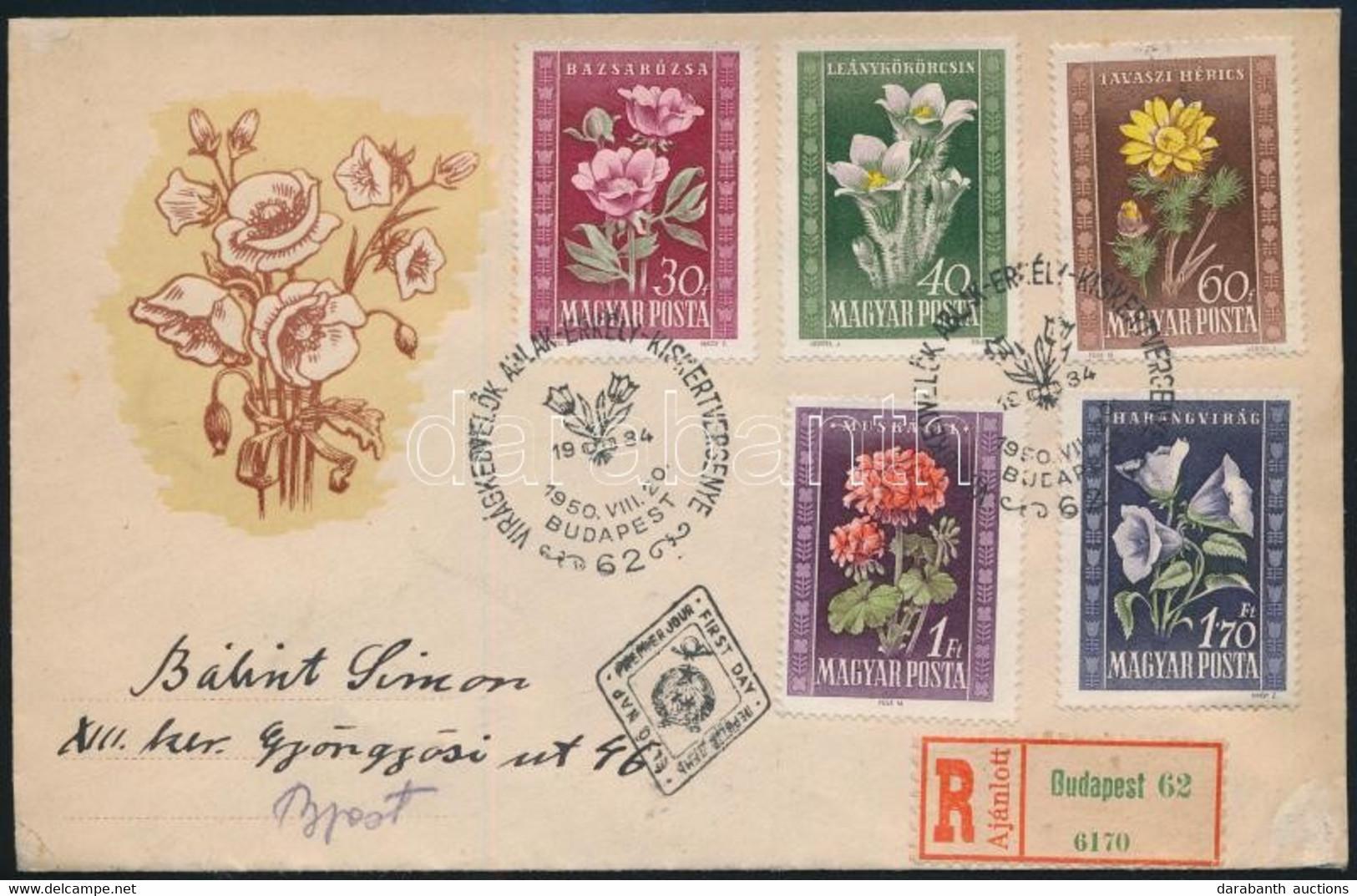 1950 Virág Sor Ajánlott FDC - Unclassified