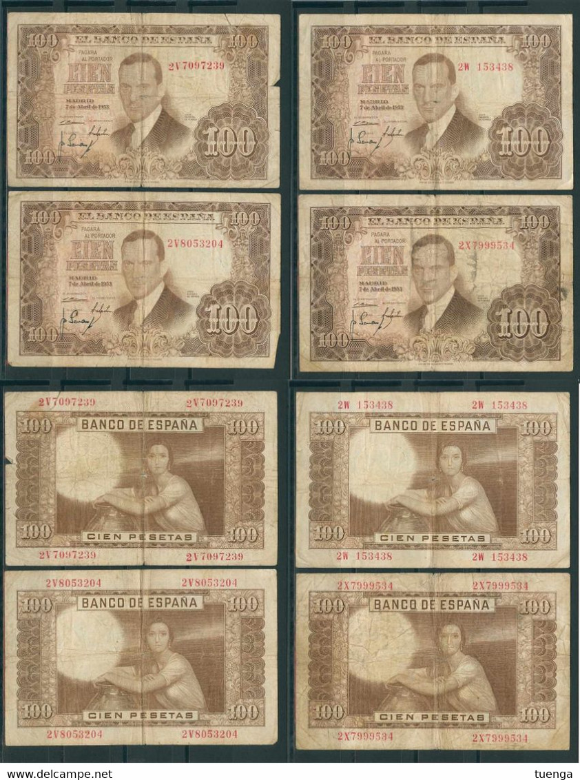 España 1953 - 4 Billetes De 100 Pesetas - Julio Romero De Torres - 100 Pesetas