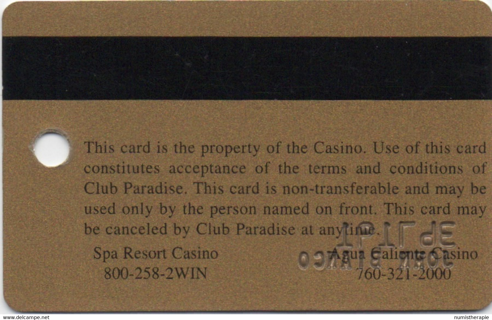 Spa Resort Casino & Agua Caliente Casino CA : Club Paradise - Casino Cards
