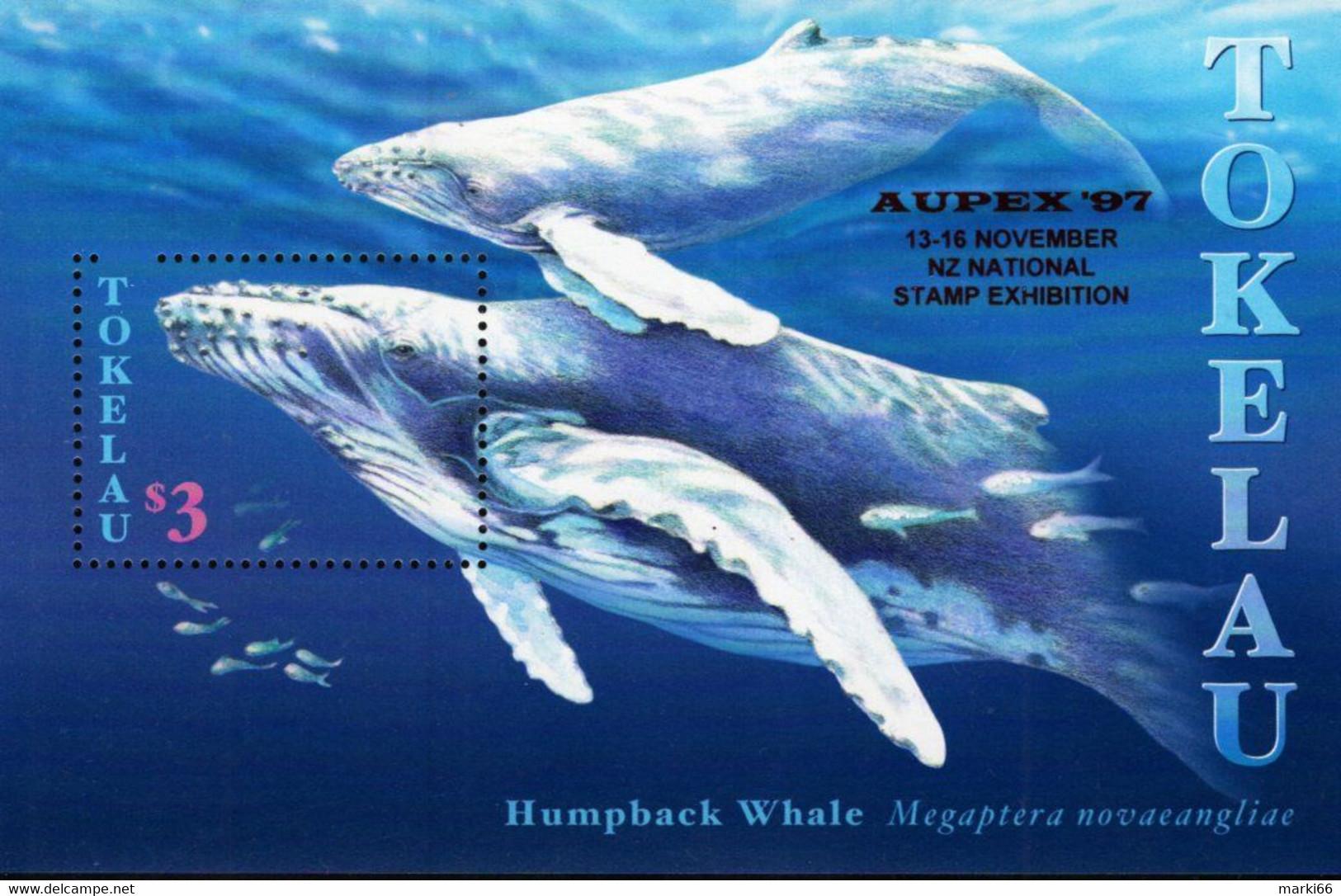 Tokelau - 1997 - Humpback Whale - AUPEX '97 NZ Stamp Exhibition - Mint Souvenir Sheet With Exhibition Overprint - Tokelau