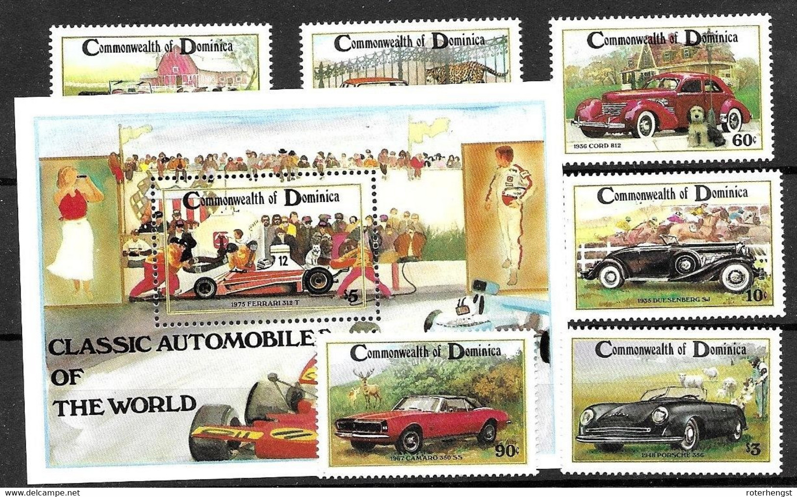 Dominica Mnh ** 10 Euros 1983 Complete Set Cars Including Porsche - Dominica (1978-...)