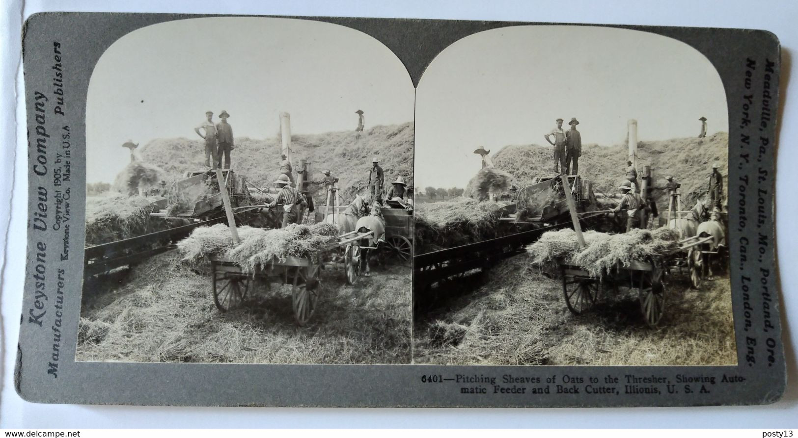 PHOTO STÉRÉO USA -  Travail Agricole - Récolte Des Gerbes D'avoine - A Voir ! -  1905 -  Ed. Keystone - TBE - Stereoscopio