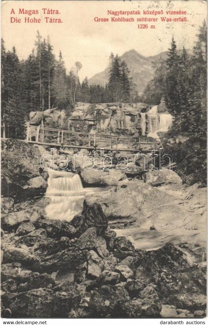 T2/T3 1913 Tátra, Magas-Tátra, Vysoké Tatry; Nagy-Tarpatak Középső Vízesése, Fahíd / Gross Kohlbach Mittlerer Wasserfall - Unclassified