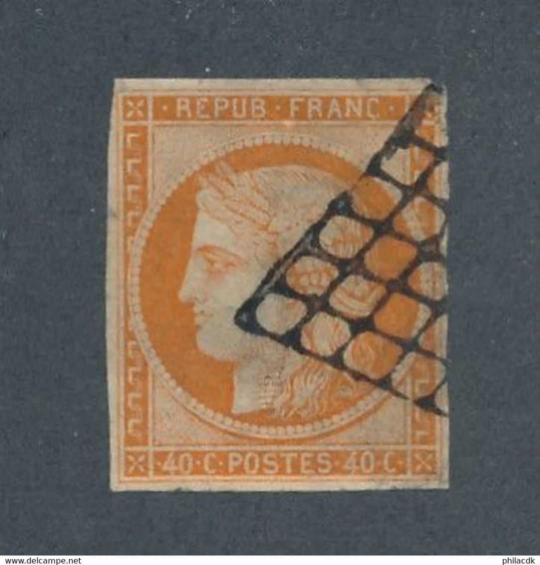 FRANCE - N°5 OBLITERE AVEC GRILLE NOIRE - COTE : 500€ - 1850 - 1849-1850 Ceres