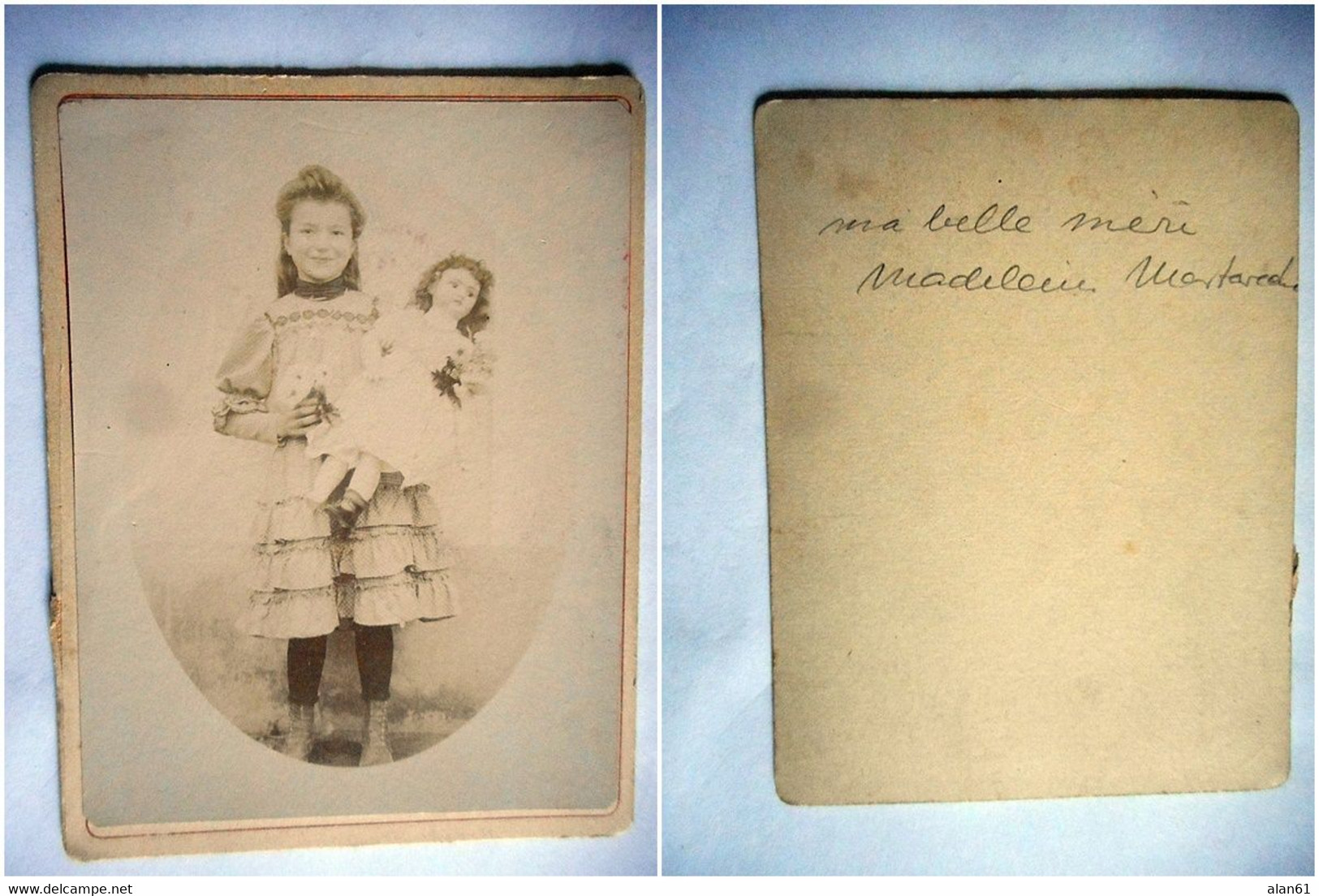 PHOTO CDV 19 EME JEUNE FILLE ET SA POUPEE ROBE   MODE Nom Au Dos  Anonyme - Ancianas (antes De 1900)