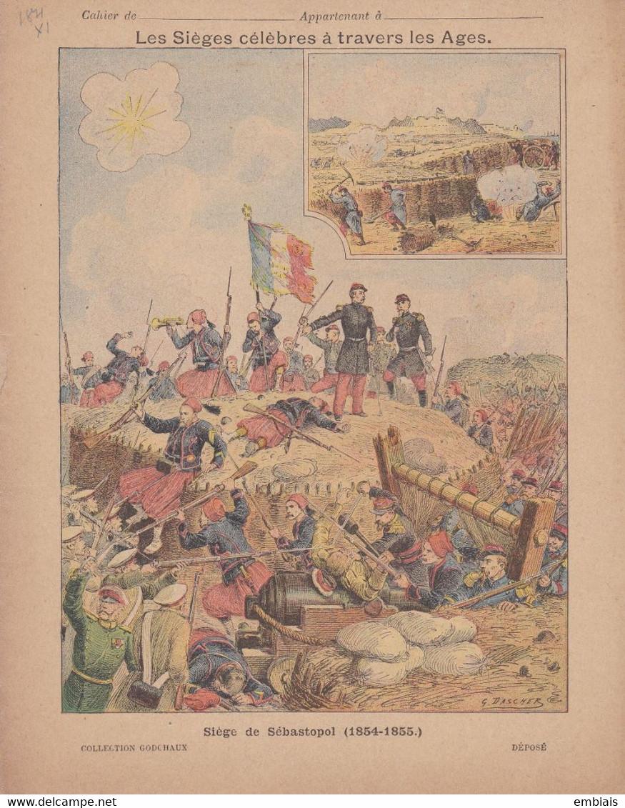 COUVERTURE De CAHIER - Guerre De Crimée - Siège De SEBASTOPL (1854-1855) Illustration G.DASCHER - Fin XIXe - Book Covers