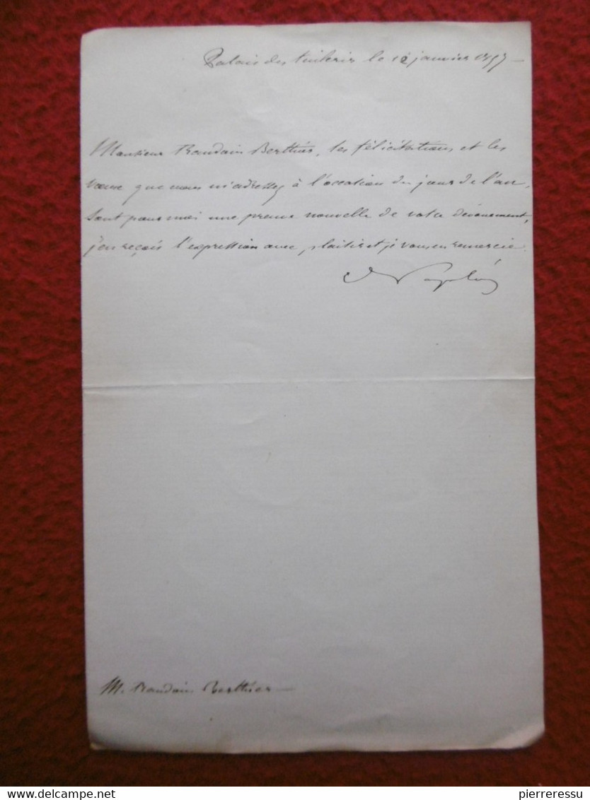 NAPOLEON III LETTRE AUTOGRAPHE A BERTHIER 1857 - Autogramme & Autographen