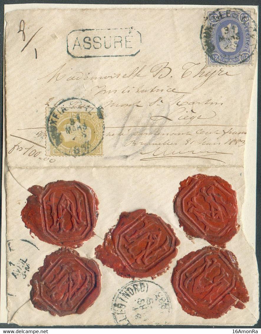 N°31/32 - 20 Centimes Bleu + 25 Centimes Bistre, Obl. ScBRUXELLES (LUX.)s/L.ASSUREdu 31 Mars 1883 Pour Unevaleur De - 1869-1883 Leopold II.