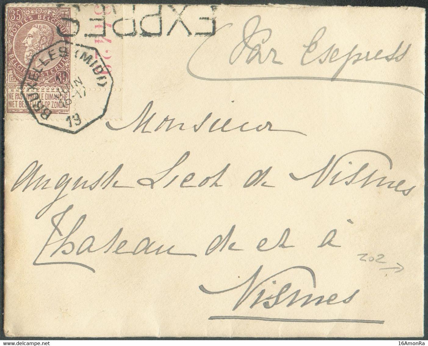 N°61 - 35 Centimes Brun, Bdf Droit Avec Inscription Marginale34429obl. Octogonale TélégraphiqueBRUXELLES (MIDI)sur E - 1893-1900 Schmaler Bart