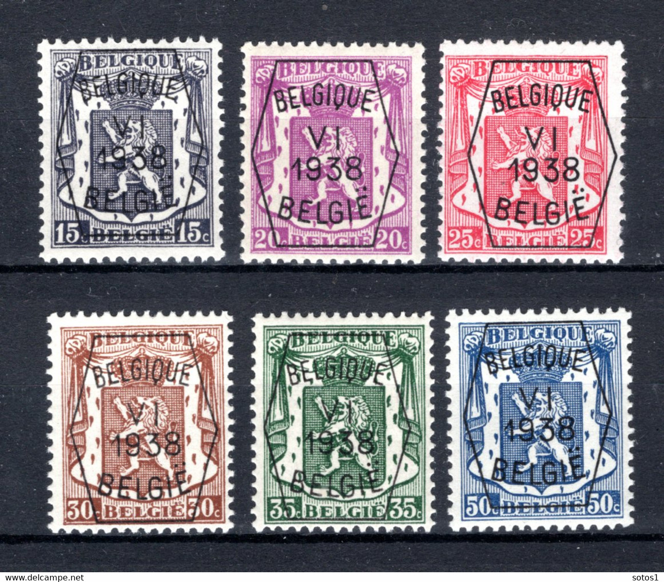 PRE363/368 MNH** 1938 - Klein Staatswapen VI Opdruk Type A  - REEKS 6 - Typografisch 1936-51 (Klein Staatswapen)