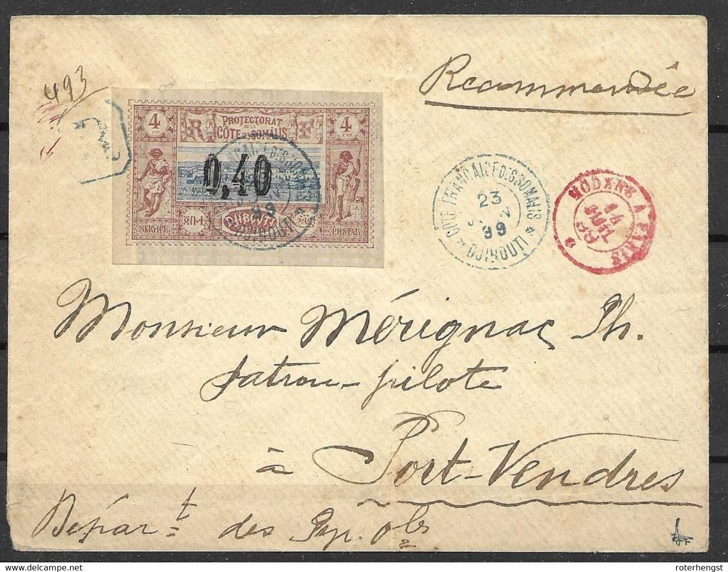 Signed Registered Letter Cote Des Somalis 1889 Djibouti To Port-Vendres France (red Train Cancel Modane A Paris) - Covers & Documents