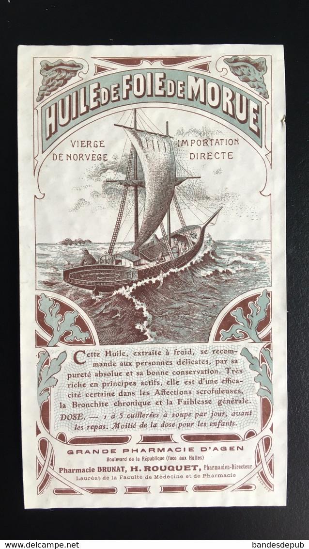 Pharmacie Agen Pharmacien Rouquette Brunâtre étiquette Original 1900 Huile De Foie De Morue Norvège - Unclassified
