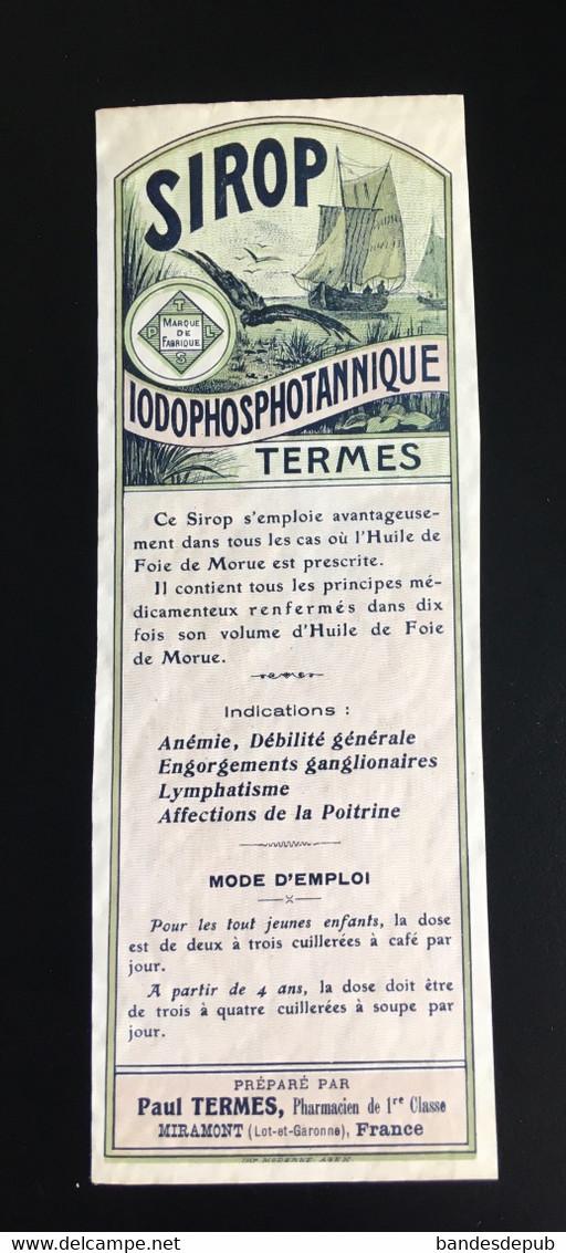Pharmacie Pharmacien Termes Miramont Sirop étiquette Original 1900 Huile De Foie De Morue Norvège - Unclassified