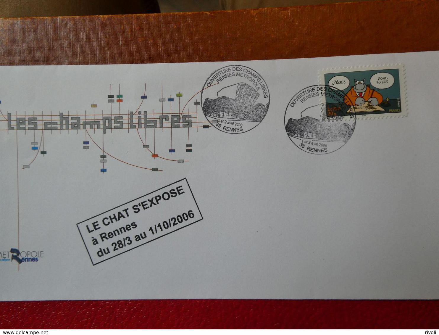 FRANCE  - Timbre Seul Sur Lettre Sourires Le Chat De Geluk N°3828 (oblitération Du 1-2-avril 2006) - 1961-....