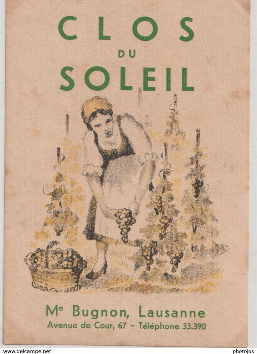 Etiquette De Vin Suisse Clos Du Soleil  Bugnon Lausanne  Scène De Vendanges    TBE - Unclassified