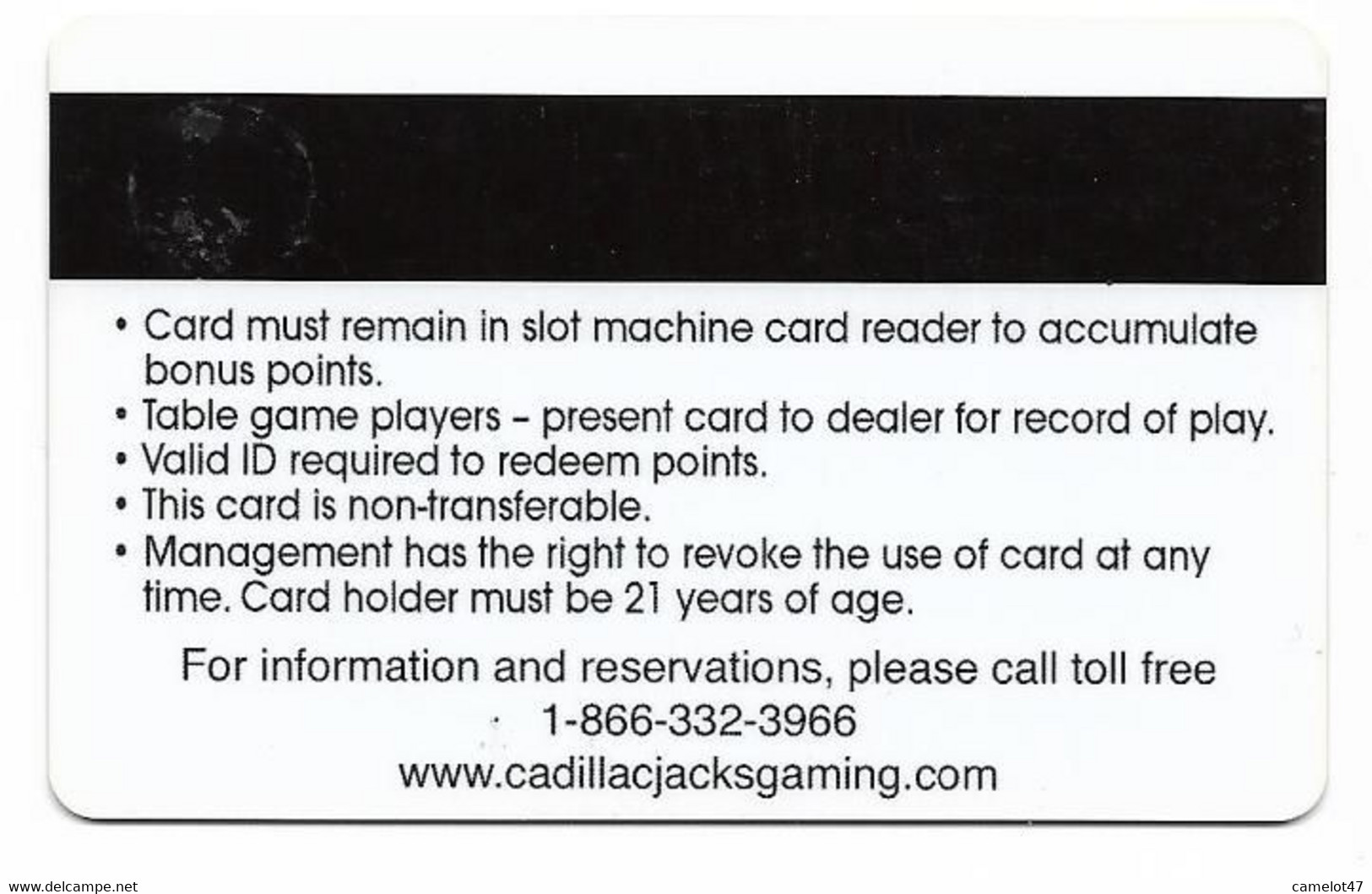 Cadillac Jack's Casino, Deadwood, SD, U.S.A. Older Used BLANK Slot Or Player's Card, # Cadillacjacks-1blank  BLANK CARD - Casino Cards