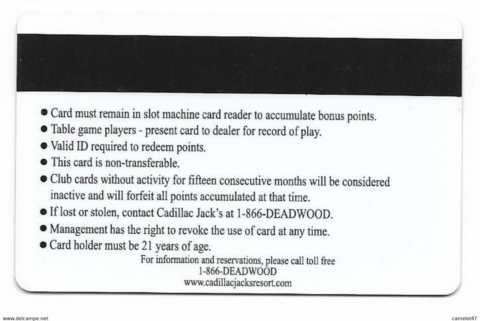 Cadillac Jack's Casino, Deadwood, SD, U.S.A. Older Used  BLANK Slot Or Player's Card, # Cadillacjacks-2blank - Casino Cards
