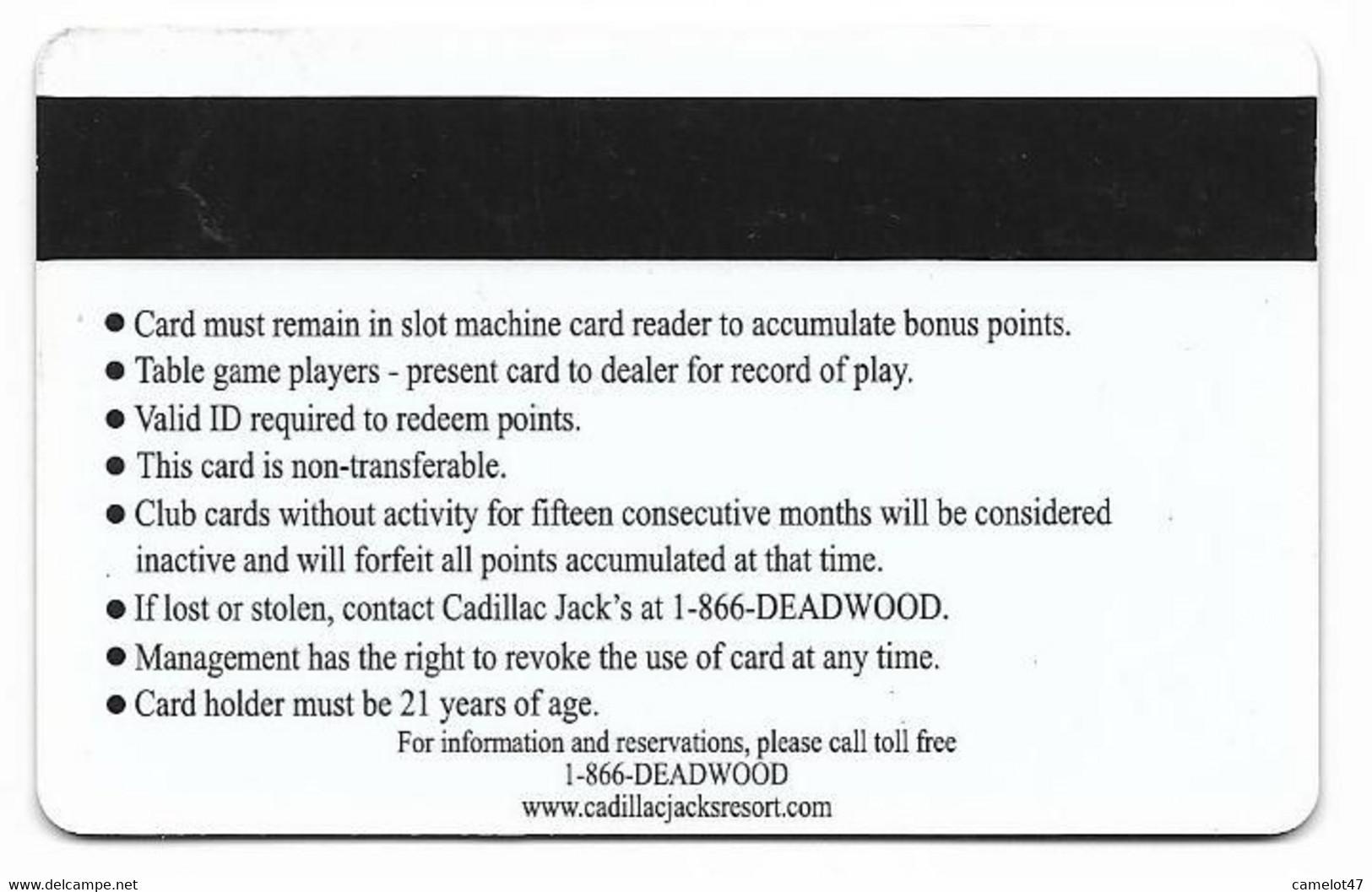 Cadillac Jack's Casino, Deadwood, SD, U.S.A. Older Used  BLANK Slot Or Player's Card, # Cadillacjacks-6blank - Casino Cards