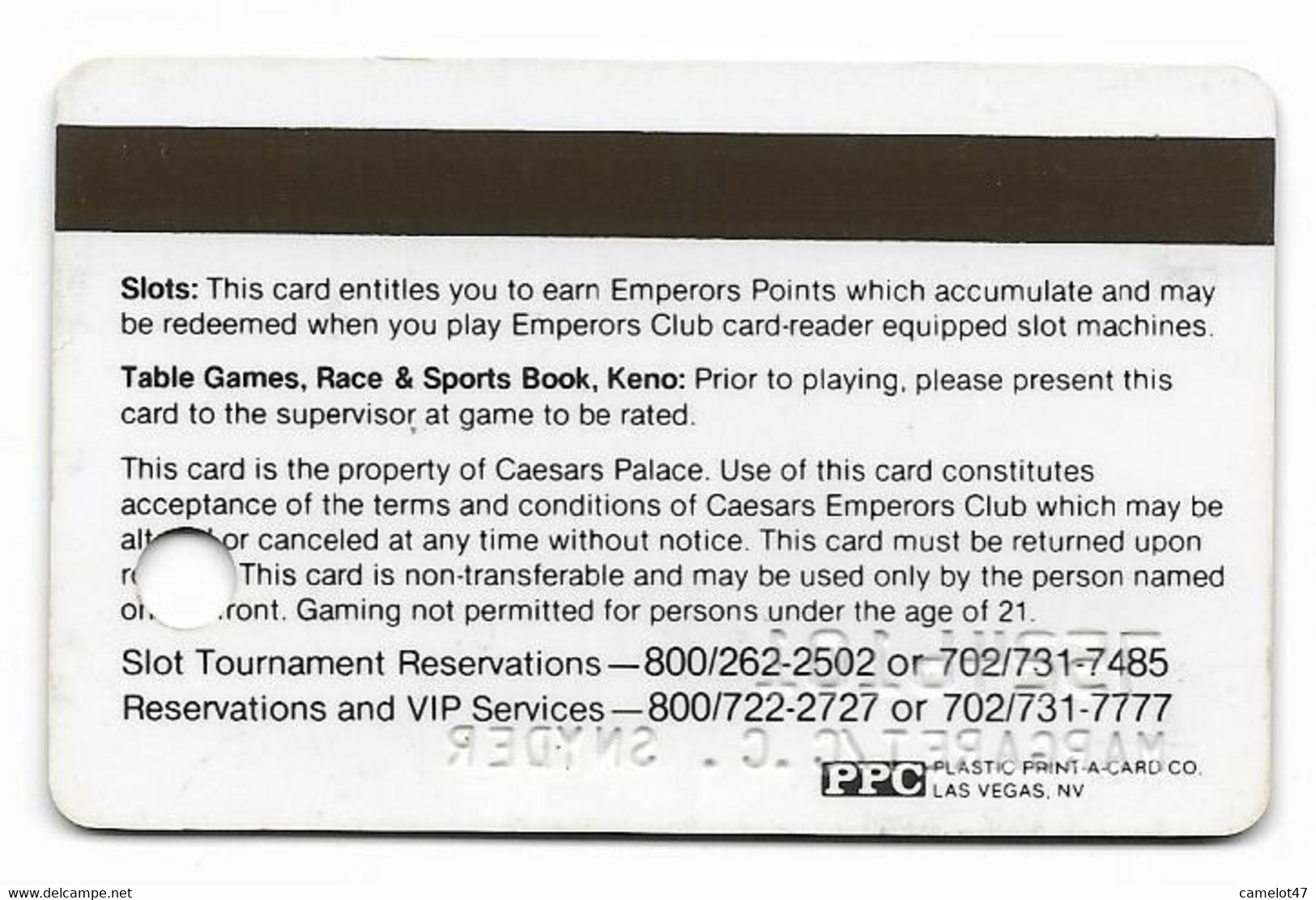Caesars Palace Casino,Las Vegas, Older Used Slot Or Player's Card, # Caesars-6 - Casino Cards