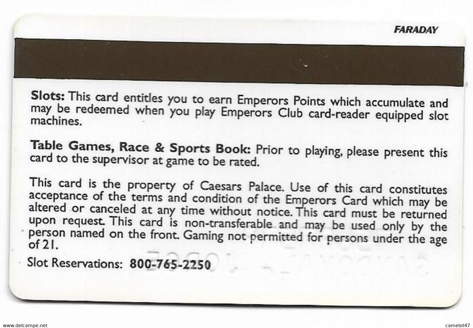 Caesars Palace Casino, Various Locations, Older Used Slot Or Player's Card, # Caesars-7b - Casino Cards