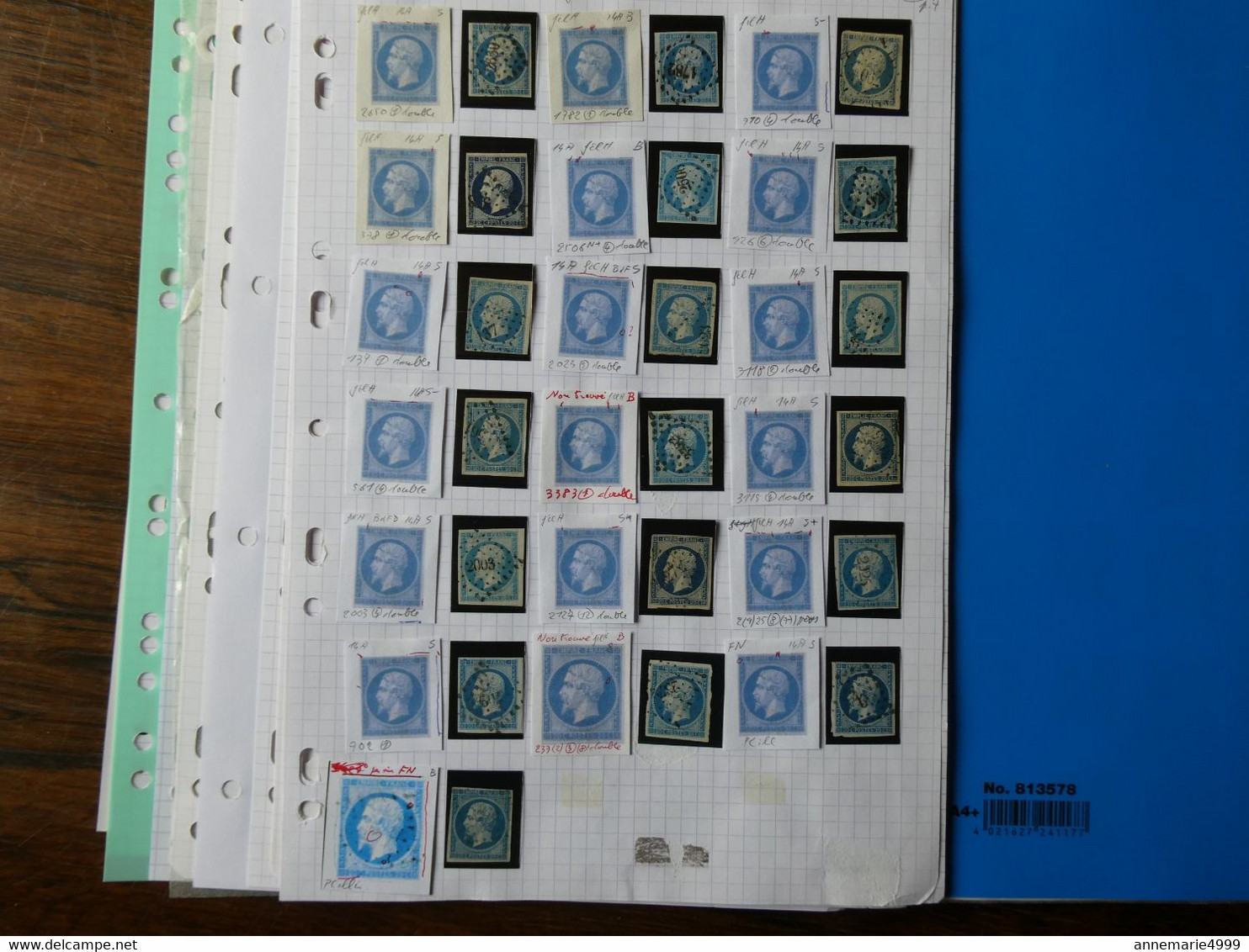 FRANCE ,371 Exemplaires Du N° 14  Par Un Spécialiste Qui A Relevé Les Anomalies.Lot Différent Des Précedents - 1853-1860 Napoléon III