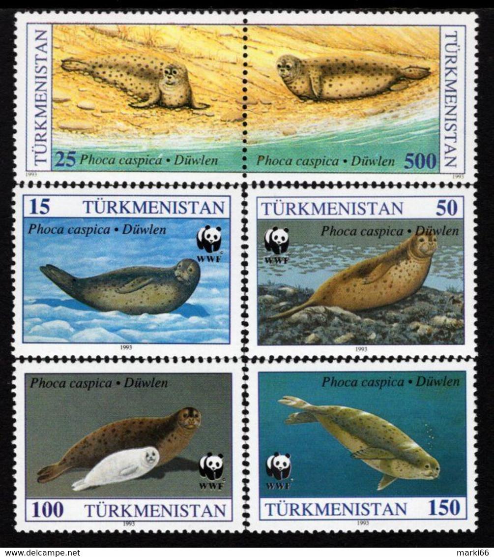 Turkmenistan - 1993 - WWF - Caspian Seal - Mint Stamp Set - Turkmenistan