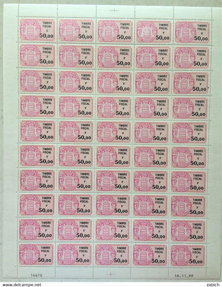 FISCAUX  MONACO  FEUILLE DE 50 Timbres Serie Unifiee N°94 50F00 CARMIN VIF Coin Daté 16 11 99 Cote 1000€ - Revenue Stamps