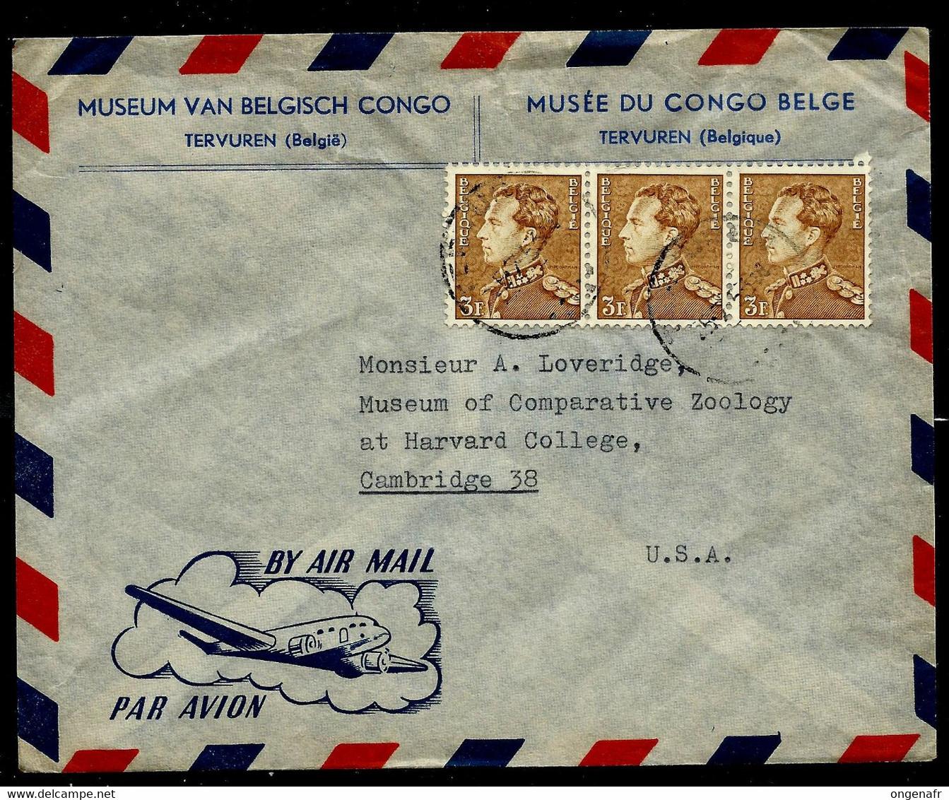 Enveloppe (entière) Avec Bande De 3 N° 847 (3,00 ) Du Musée Du Congo Belge Vers Cambridge (USA) 1953 - 1936-1951 Poortman