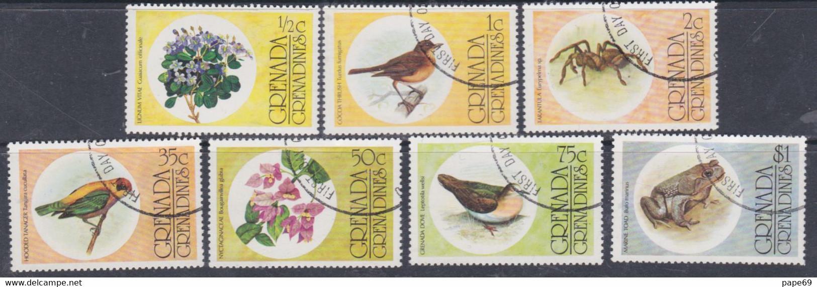 Grenadines N° 132 / 38  O  Faune Et Flore, Les 7 Valeurs  Oblitérées, TB - America (Other)