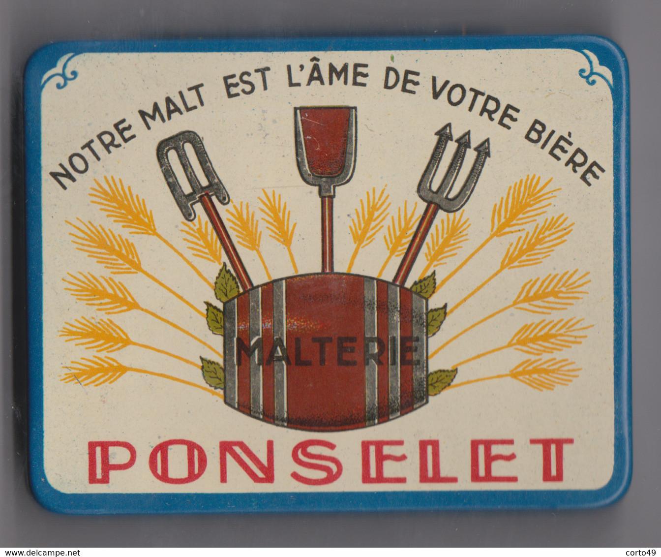 ANCIENNE BOITE METALLIQUE Pour ECHANTILLON De MALT  + 1 ETIQUETTE De LA BRASSERIE  MALTERIE A. PONSELET à ANDERLUES - Unclassified