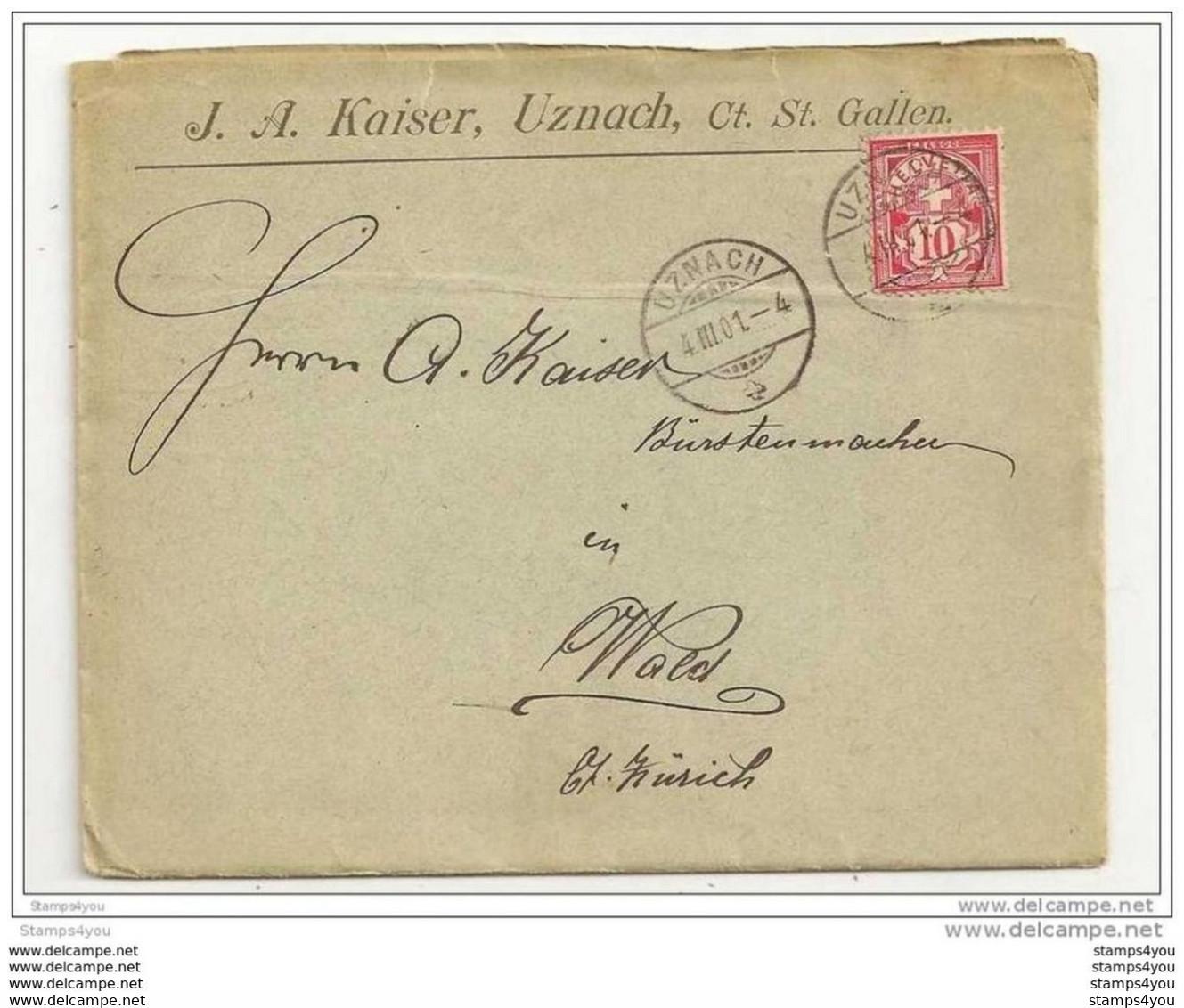 51 - 67 - Enveloppe Suisse Envoyée D'Uznach 1901 - Superbes Cachets à Date - Covers & Documents